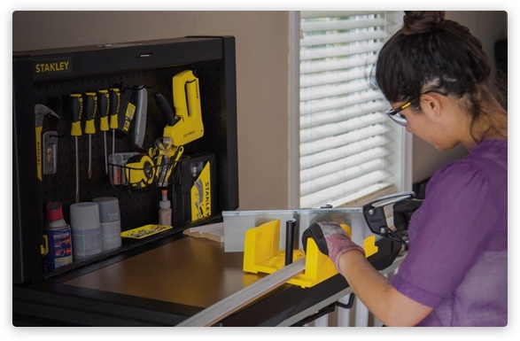 Woman using Stanley tools